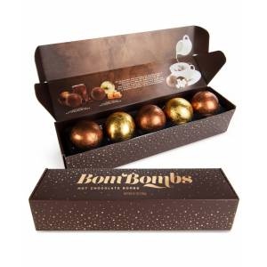 Bombombs 10 Piece Fudge Brownie and Caramel Candy Hot Chocolate Bombs with Marshmallows, 2 Sets of 5