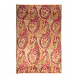 """Adorn Hand Woven Rugs Suzani M1685 6' x 8'10"""" Area Rug - Tan - Size: 6' x 9'"""