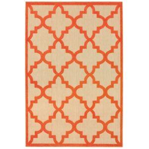 """Oriental Weavers Cayman 660 5'3"""" x 7'6"""" Indoor/Outdoor Area Rug - Sand/Orange - Size: 5'3"""" x 7'6"""""""