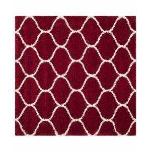 Safavieh Hudson Red and Ivory 7' x 7' Square Area Rug