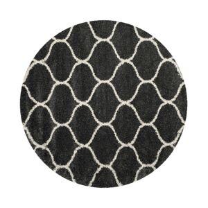 Safavieh Hudson Dark Gray and Ivory 7' x 7' Round Area Rug