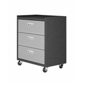 """Manhattan Comfort Fortress Textured Metal 31.5"""" Garage Mobile Chest with 3 Full Extension Drawers - Gray"""