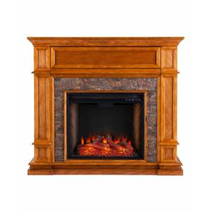 Southern Enterprises Ranleigh Faux Stone Alexa-Enabled Electric Fireplace with Media Shelf