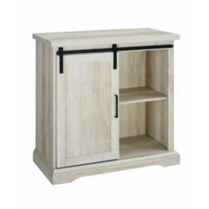 Walker Edison Modern Farmhouse Grooved Door Accent Tv Stand - White