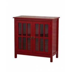 Buylateral Portland Glass Door Cabinet - Red - Size: No Size