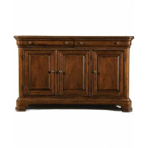 Furniture Evolution 2 Drawer 3 Door Credenza with Marble Top in Rich Auburn Finish Wood