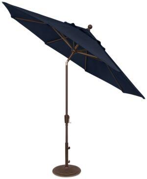 Treasure Garden Outdoor Bronze 9' Push Button Tilt Umbrella - Navy