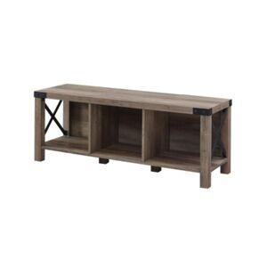 Walker Edison Farmhouse Wood Metal Entry Bench - Gray - Size: No Size