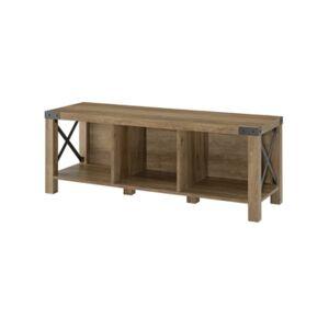Walker Edison Farmhouse Wood Metal Entry Bench - Brown - Size: No Size