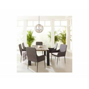 """Bernhardt Cedar Key 7-Pc Dining Set ( 85"""" x 32"""" Rect Dining Table + 6 Antilles Side Chairs), with Sunbrella Cushions"""