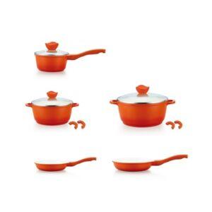 Edge Culinary Edge 8 Piece Ceramic Nonstick Die Cast Aluminum Cookware Set - Orange