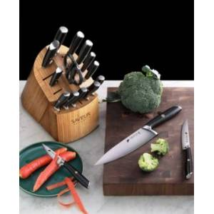Saveur Selects Voyage Series Forged German Steel 17-Pc. Cutlery Set - Black