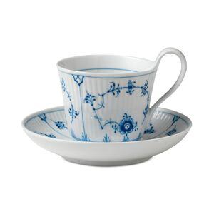 Royal Copenhagen Blue Fluted Plain High Handle Cup & Saucer