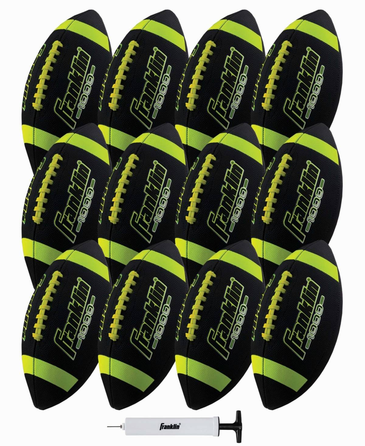 Franklin Sports Junior Rubber Football Set - 12 Pack - Inflation Pump Included