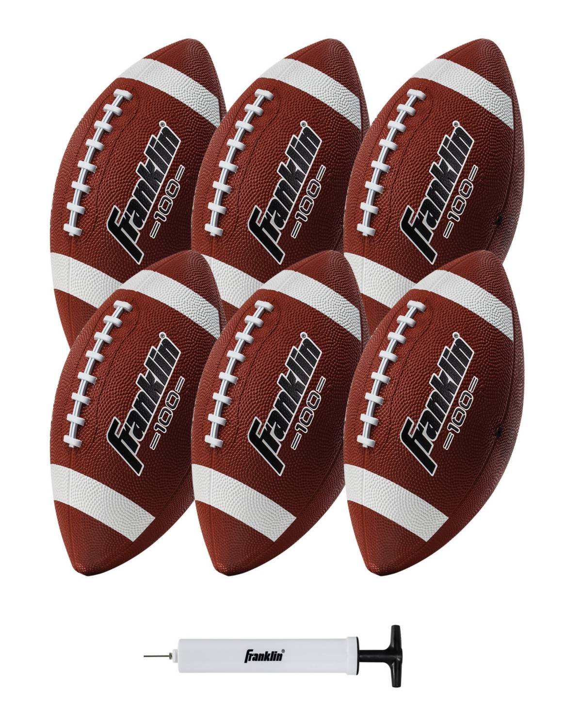 Franklin Sports Junior Rubber Football Set - 6 Pack - Inflation Pump Included