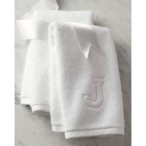 Matouk Auberge Monogrammed Hand Towel - Size: S - WHITE