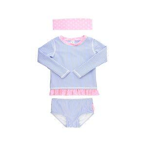 RuffleButts Girl's Seersucker Stripe Rash Guard Bikini w/ Headband, Size 3M-10 - Size: 4T - BLUE