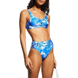 Trina Turk Basque Banded Bikini Bra Top - Size: 14 - BLUE