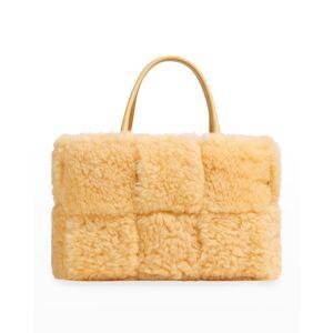 Bottega Veneta Arco Shearling Tote Bag - TEDDY GOLD