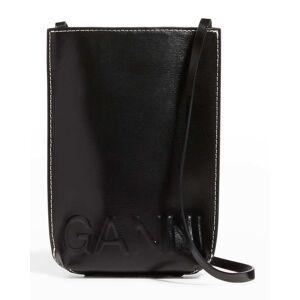 Ganni Banner Flat Recycled Leather Crossbody Bag - BLACK