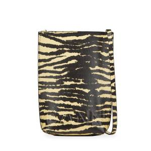 Ganni Tiger-Print Crossbody Bag - PALE BANANA