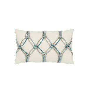 Elaine Smith Rope Lumbar Sunbrella Pillow, Turquoise - Size: unisex
