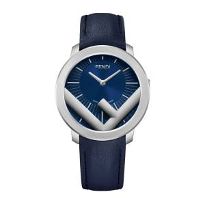 Men's 41mm Run Away F is Fendi Logo Analog Leather Watch with Blue Strap - BLUE