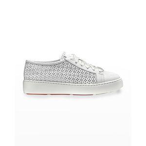 Santoni Perforated Calfskin Low-Top Sneakers - Size: 5B / 35EU - WHITE