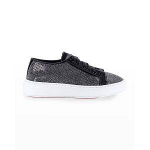 Santoni Crystal-Embellished Low-Top Flatform Sneakers - Size: 8B / 38EU - BLACK
