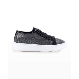 Santoni Crystal-Embellished Low-Top Flatform Sneakers - Size: 8.5B / 38.5EU - BLACK