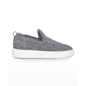 Santoni Suede Shearling-Lined Low-Top Loafers - Size: 37 - GREY