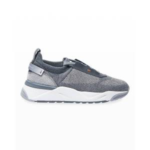 Santoni Alegeria Knit Low-Top Sneaker - Size: 39 - GREY