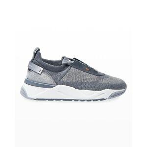 Santoni Alegeria Knit Low-Top Sneaker - Size: 38 - GREY