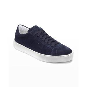 Santoni Men's Jannas Low-Top Leather Sneakers - Size: 9D - BLUE