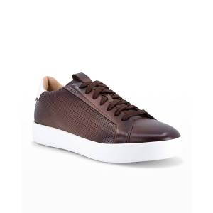 Santoni Men's Burgle Perforated Leather Low-Top Sneakers - Size: 10.5D - BROWN-S50