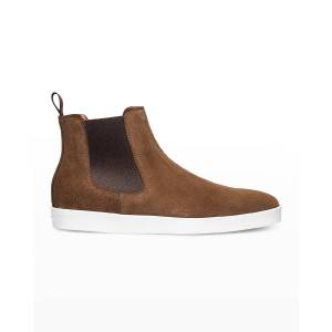 Santoni Men's Suede Chelsea Boot Sneakers - Size: 8D - BROWN S50