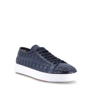 Santoni Men's Byam Textured Leather Low-Top Sneakers - Size: 10D - BLUE-U50