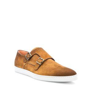 Santoni Men's Freemont Double-Monk Strap Suede Sneakers - Size: 11.5D - BROWN-M40