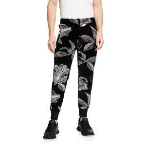 Givenchy Men's Floral Schematics Velvet Track Pants - Size: X-SMALL - BLACK/WHITE