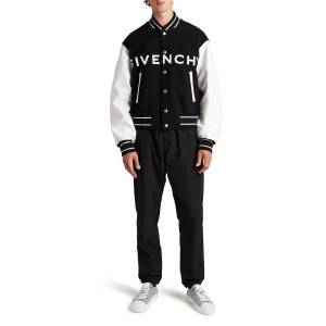 Givenchy Men's Wool-Leather Logo Varsity Jacket - Size: 56R EU (44R US) - BLACK WHITE
