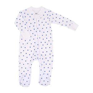 Sammy + Nat Mini Star-Print Zip-Up Footie Pajamas, Size 3-18M - Size: 3 Months - BLUE