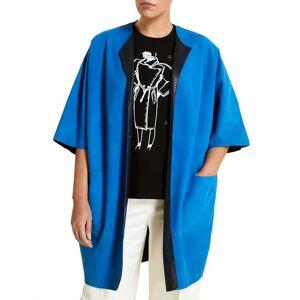 Marina Rinaldi Plus Size Edison Goatskin Suede Jacket - Size: 18 - BLU