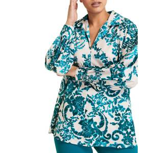 Marina Rinaldi Plus Size Finale Damascus-Print Taffeta Blouse - Size: 18 - PINK