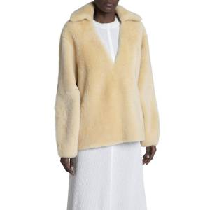 Collared Sheep Shearling Pullover - Size: 34 DE (4 US) - MEDIUM BEIGE