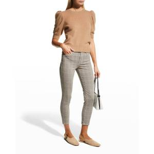 FRAME Le High Skinny Crop Jeans - Size: 34 - WINDOW PANE PLAID