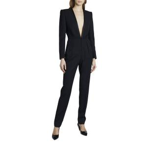Deep V-Neck Long-Sleeve Suit Styled Jumpsuit - Size: 40 FR (8 US) - BLACK