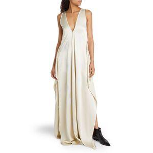 Firework Embellished V-Neck Sleeveless Satin Gown - Size: 40 IT (4 US) - WHITE