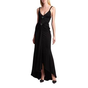 Giorgio Armani High-Low Front Ruched Jersey Gown - Size: 44 IT (8 US) - BLACK