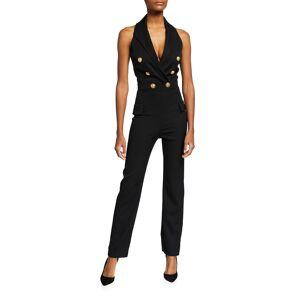 Peak-Lapel Wool Straight-Leg Jumpsuit - Size: 44 FR (12 US) - BLACK