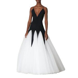 Bicolor V-Neck Godet Gown - Size: 10 - BLACKWHITE